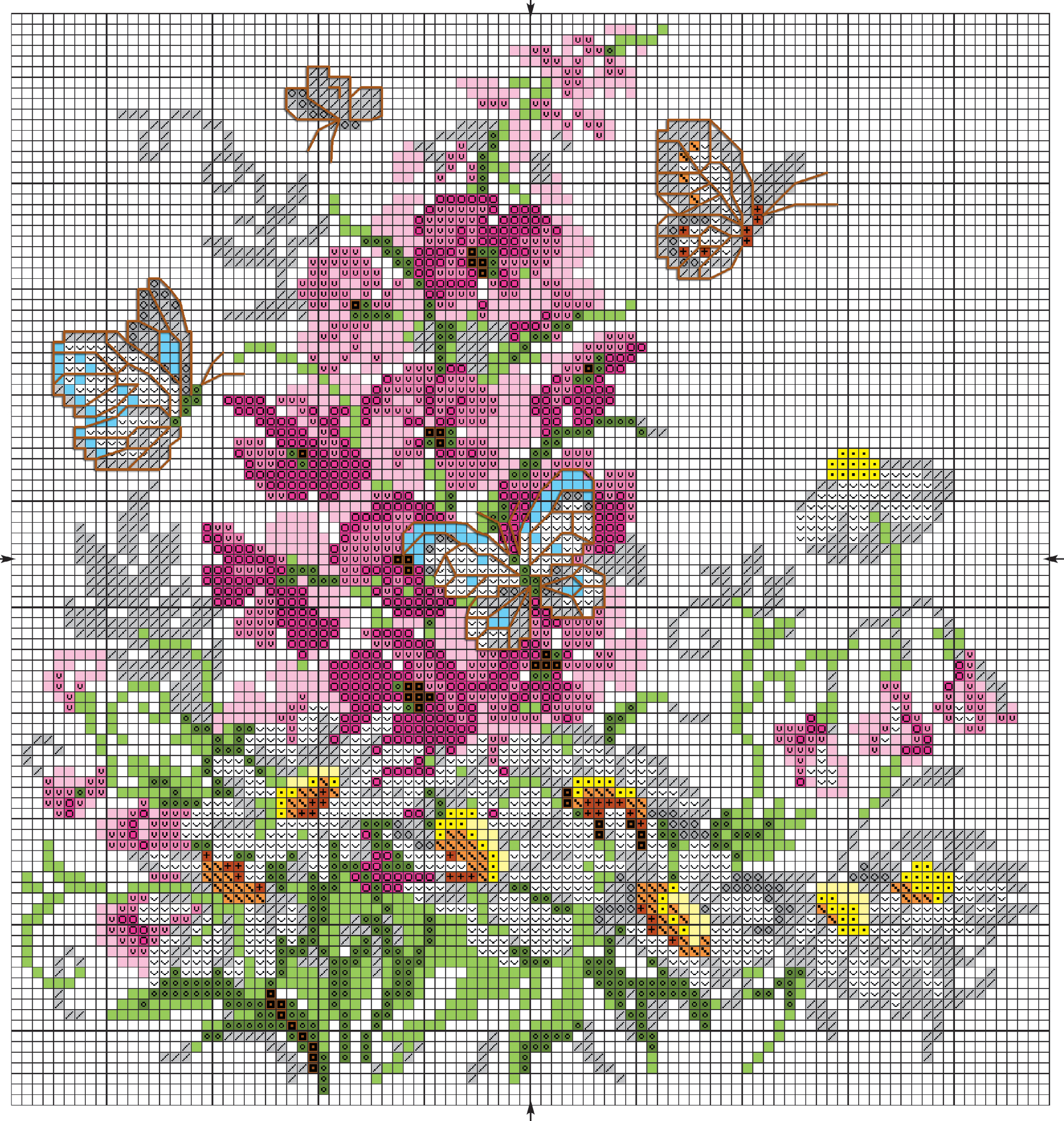 Вышивка крестом бабочка с отражением